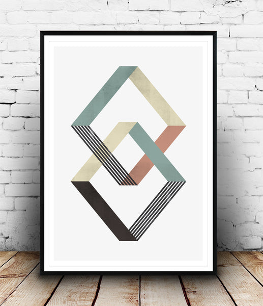 Intersecting geometric objects with muted colors poster - Wallzilladesign