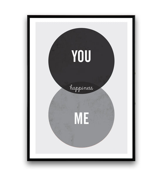 Positive quote prin, black and white art, you and me poster, nordic design - Wallzilladesign
