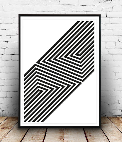 Op art print, geometric abstract art, simple wall decor, boho chic print - Wallzilladesign