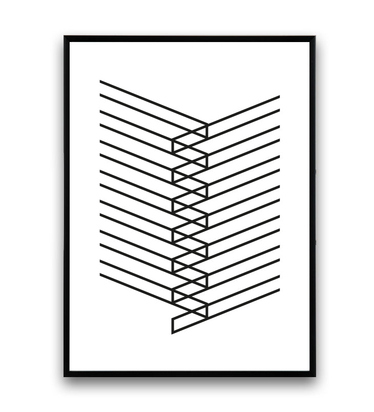 Simple lines minimalist abstract poster - Wallzilladesign