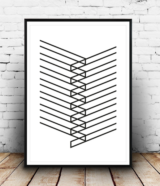 Simple lines minimalist abstract poster