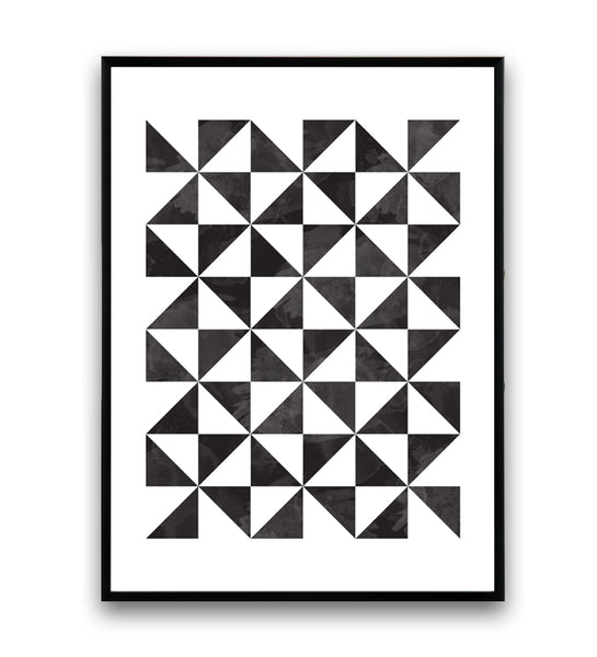 Black and white minimalistic triangles print