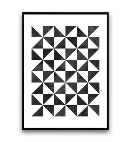 Black and white minimalistic triangles print - Wallzilladesign