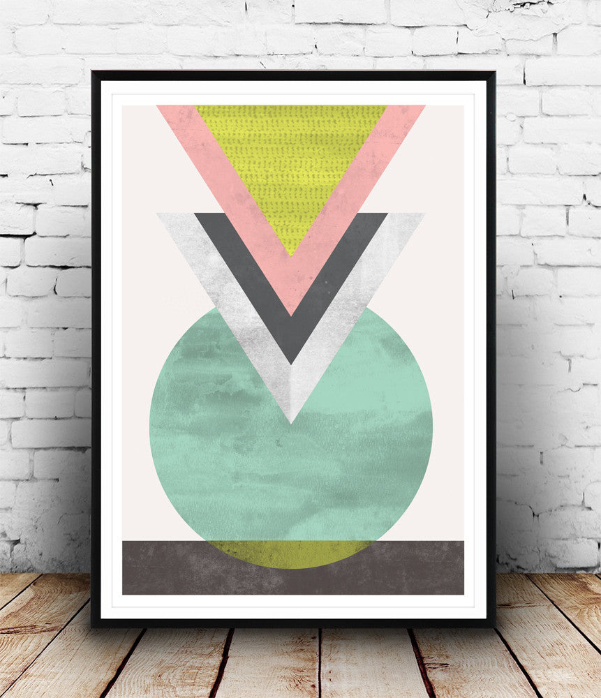 Geometric print, abstract triangle print, watercolor art - Wallzilladesign
