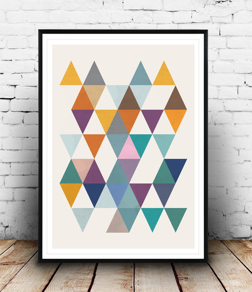 Colorful triangles composition print - Wallzilladesign
