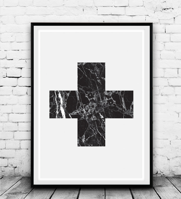 Black swiss cross with marble texture - Wallzilladesign