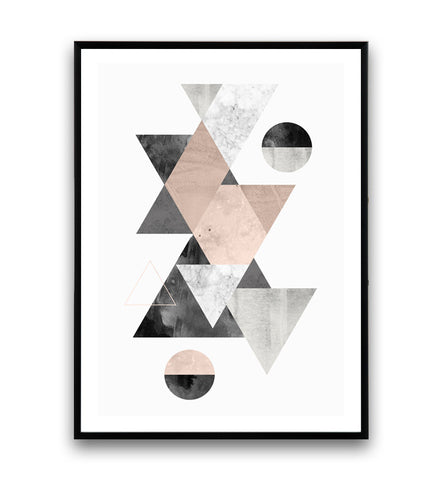Pinkg and gray wall art, geometric triangle print