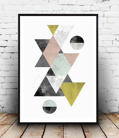 Triangles print, geometric poster, minimalist watercolor art
