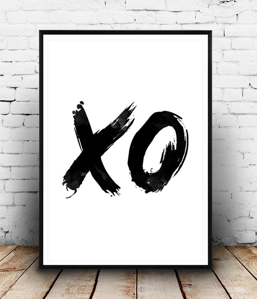 XO typography print with brush lettering - Wallzilladesign