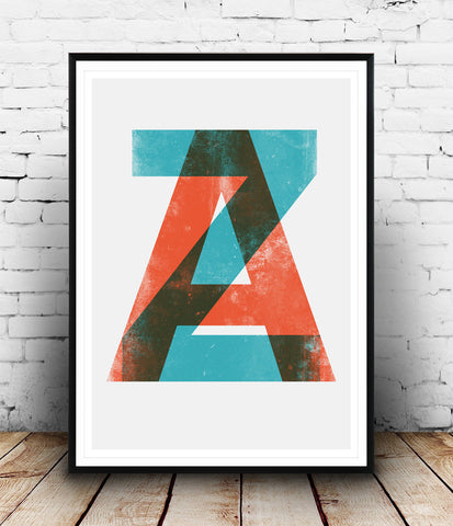 ZA letters print, typography art, modern poster, alphabet print - Wallzilladesign