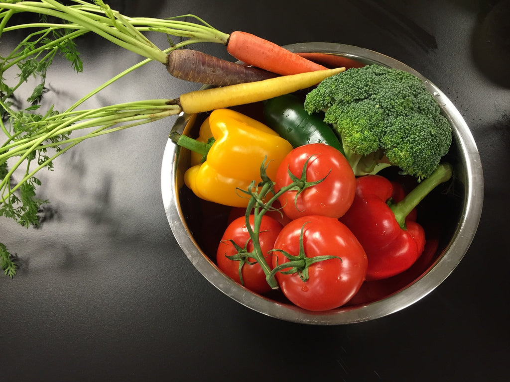 colorful vegetables in stainless steel dog dish