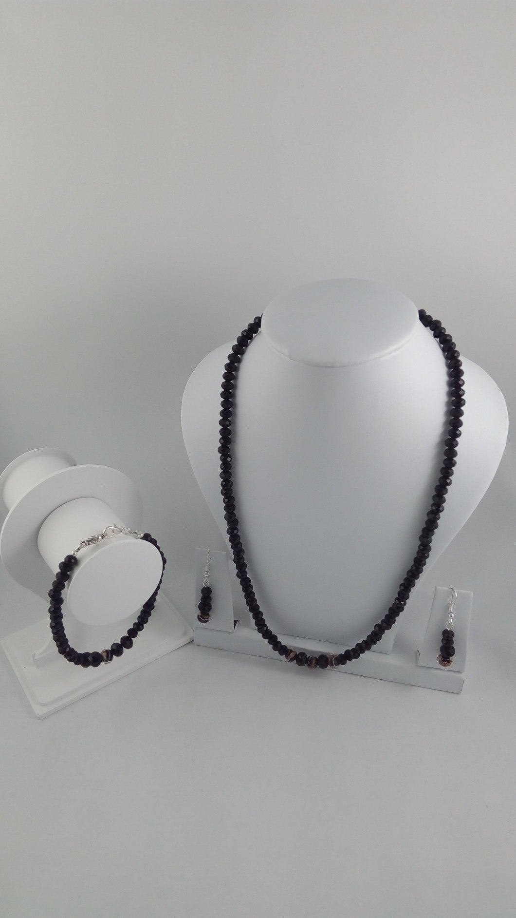 black crystal jewelry handmade lampwork glass beads necklace bracelet and earrings set free shipping worldwide