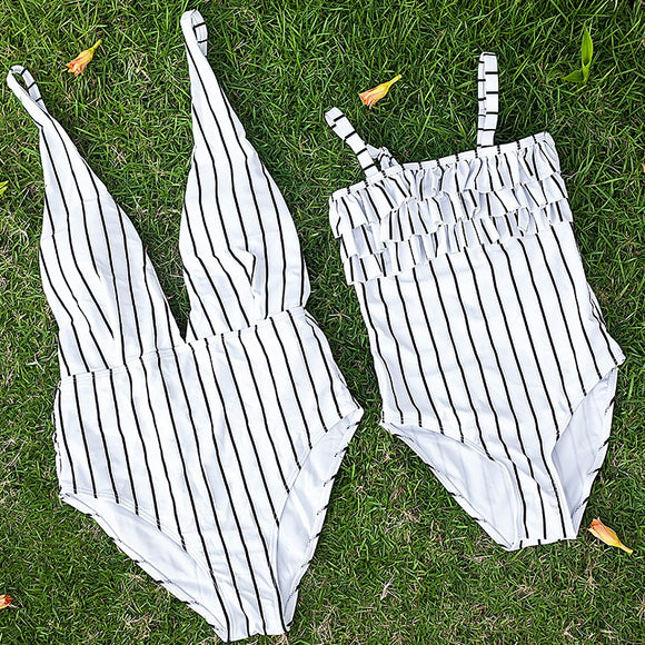Monochrome Lines One Piece Swimsuit for Kids