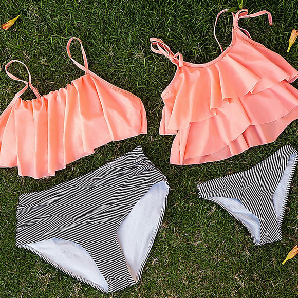 Playful Orange Two Piece Swimsuit for Kids