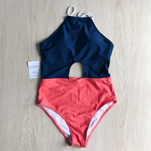Winona Orange and Navy Blue Monokini