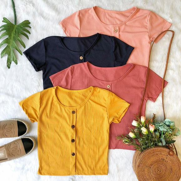 Button Down Detail Cropped Tops