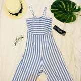 Blue Stripes Tie Back Jumpsuit