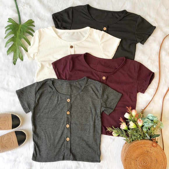 Button Down Detail Cropped Tops Dark Colors