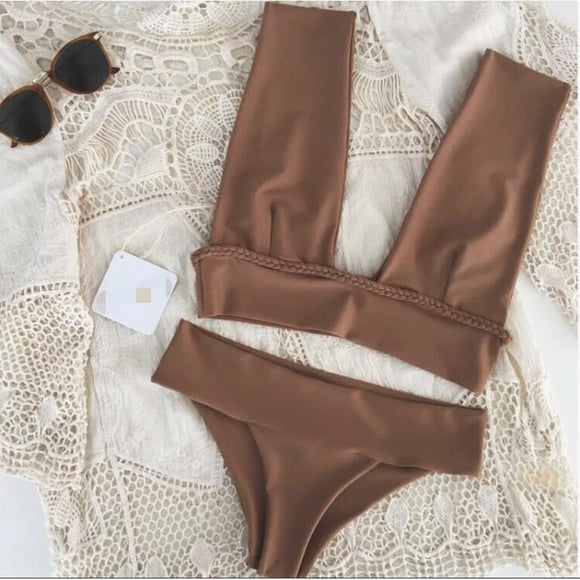 Last chance! Goddess Brown Wide Strap Bikini Two Piece Swimsuit