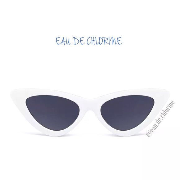 White Retro Cat Eye Sunglasses