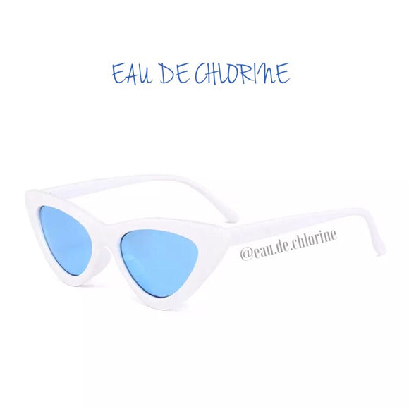 White and Blue Retro Cat Eye Sunglasses