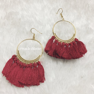 Tassel Earrings in Passionate Red