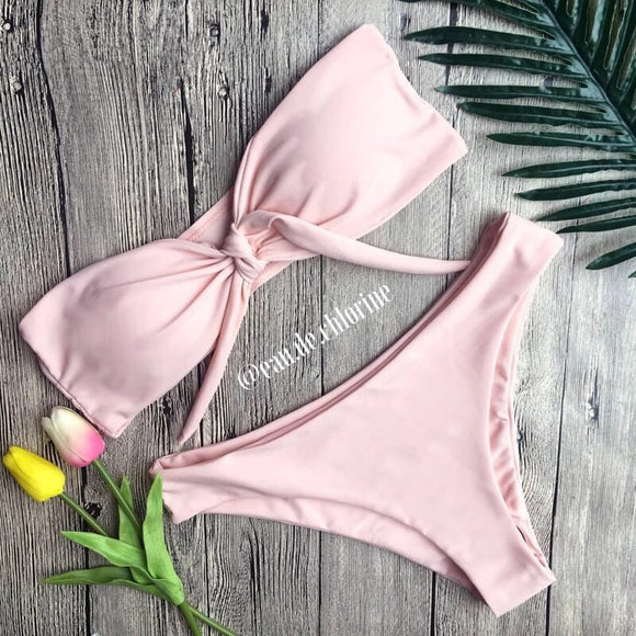 Pink Bandeau Two Piece Swimsuit