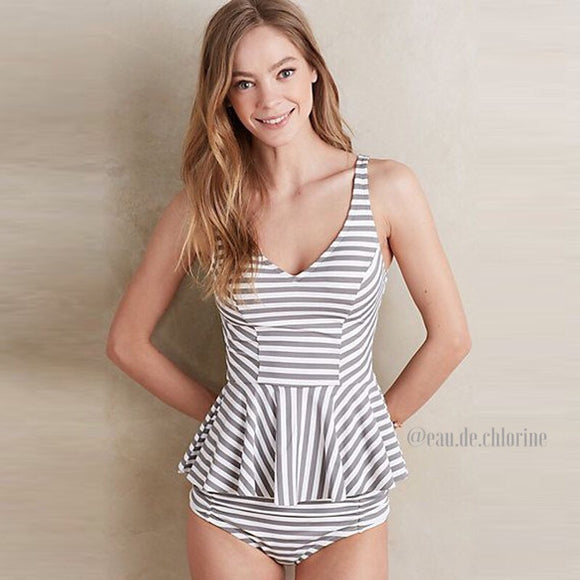 Essen Stripes Gray Two Piece Swimsuit Tankini Style