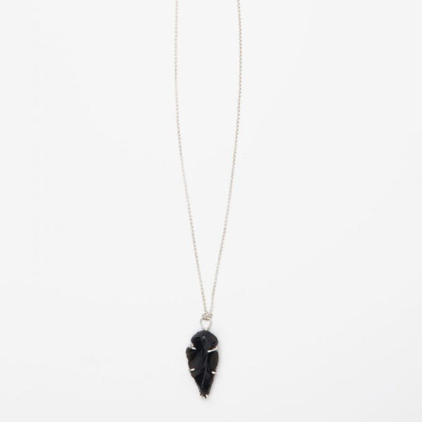 Black Onyx and Sterling Silver arrowhead necklace
