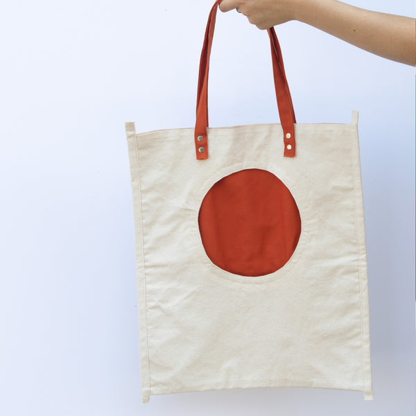 Tote Bag with Orange Round Pocket - front