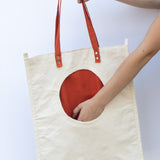 Tote Bag with Orange Round Pocket - pocket