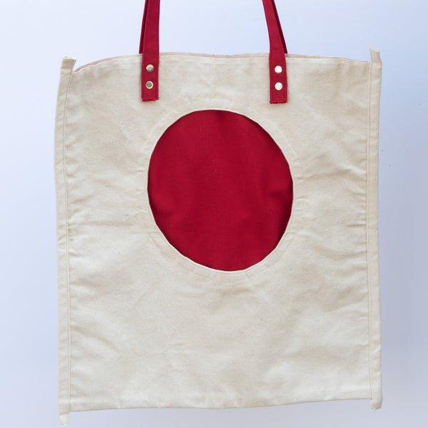 Tote Bag with Red Round Pocket - front