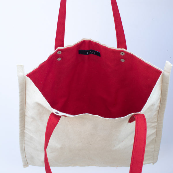 Tote Bag with Red Round Pocket - inside front