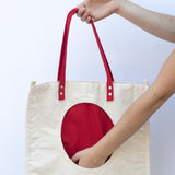 Tote Bag with Red Round Pocket - pocket
