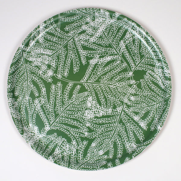 Round Wooden Tray with Green Leaf pattern from iivi