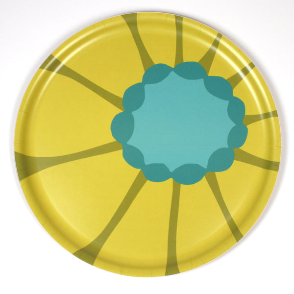 Round Wooden Tray with Yellow Sunflower pattern from iivi