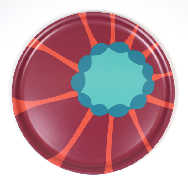 Round Wooden Tray with Red Sunflower pattern from iivi