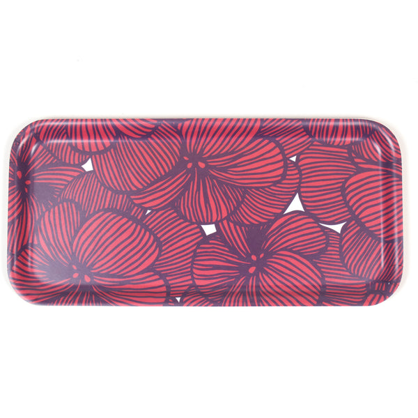 Red tropical small wooden tray by iivi