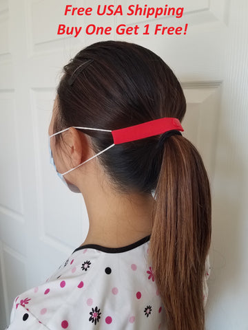 "The Most Comfortable ""Elastic Mask Strap"" (Red), Buy one get 1 free, Free USA Shipping"
