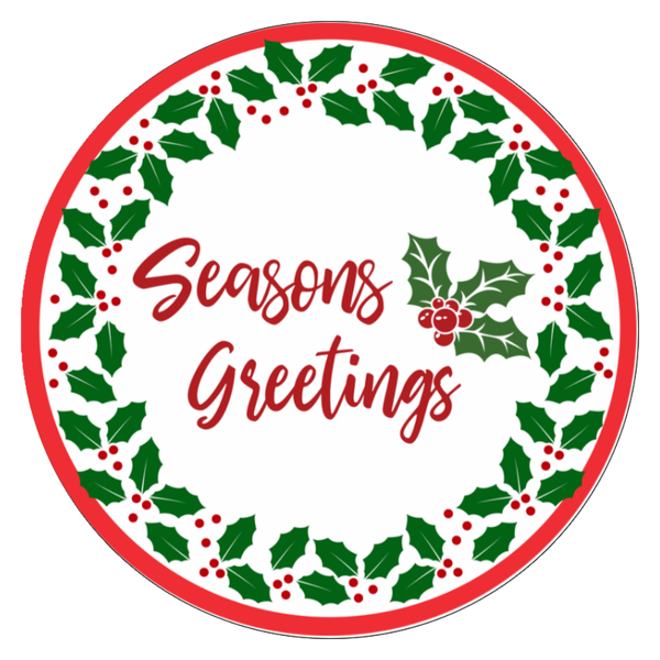 Seasons Greetings wreath Sign Round