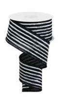 2.5 in Black and White Irregular striped ribbon 10 yards