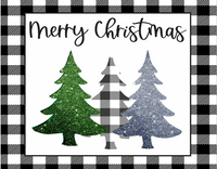 Glittered and Buffalo plaid trees sign