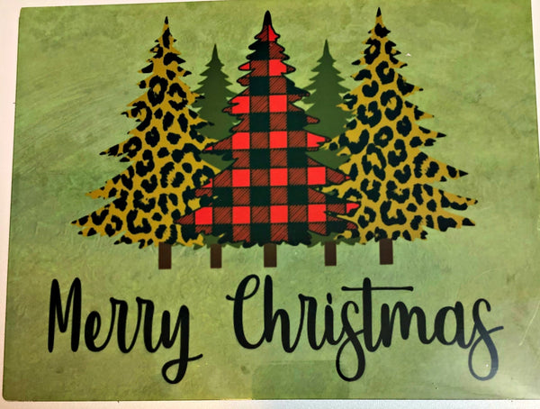 Merry Christmas Black and Red Checkered /Leopard Print Christmas Tree sign