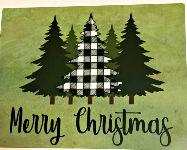 Merry Christmas Black and White Checkered Tree sign