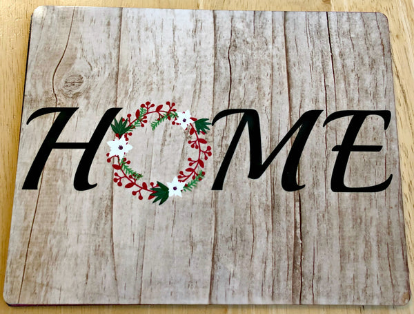 Home sign- Red Green and White Wreath