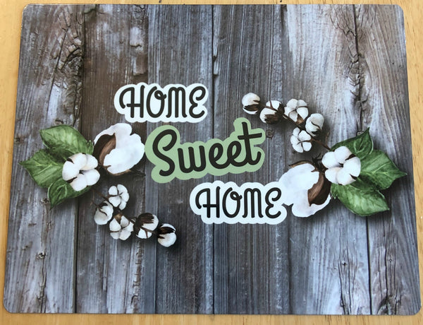 Home Sweet Home sign with cotton