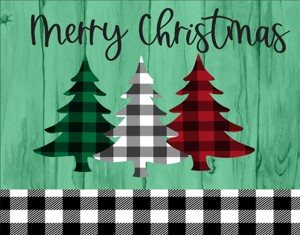 Merry Christmas Red, Green and White Checked trees sign