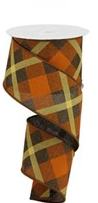 2.5 in Orange, Brown and yellow ribbon 10 yards