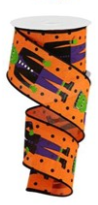 2.5 in Orange Frankenstein ribbon 10 yards