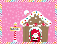 North Pole Candy Gingerbread Sign- Pink Christmas sign